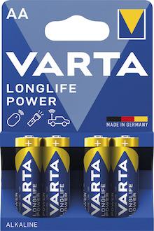 Varta Batterie Longlife Power Mignon, LR06, AA, 1,5V, Pck=4St, 4906, Alkaline