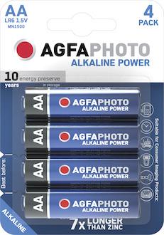 AgfaPhoto Mignon Batterie, AA, 1,5V, LR6, High Quality, Alkaline, Pck=4St, 110-8